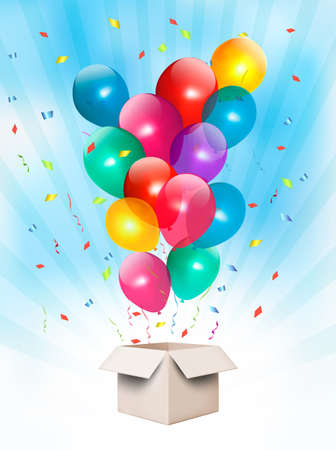 Holiday background with colorful balloons and open box. Vector