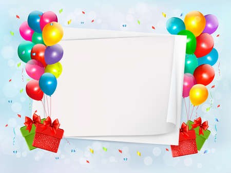 globos de cumpleaños: Vacaciones de fondo con globos de colores y cajas de regalo. Vector