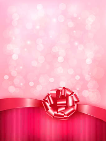 Elegant holiday background with gift pink bow and ribbon. Vector Stock Vector - 19551844