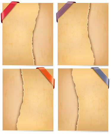 ripped paper: Vintage backgrounds with ripped old paper. Vector illustration. Illustration