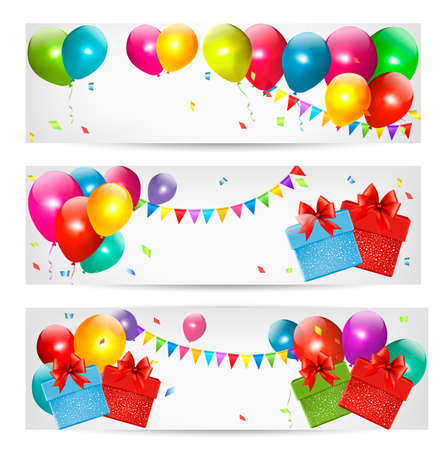 red and yellow card: Holiday banners with colorful balloons and gift box. Vector.