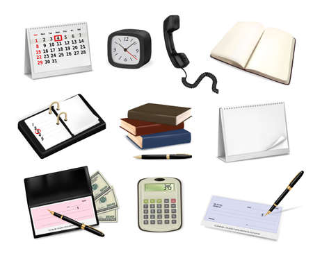Big collection of office supplies.  Vector