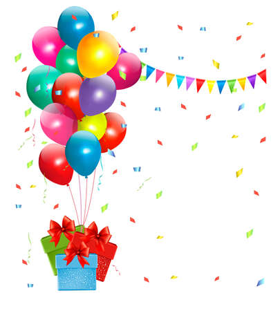Holiday background with colorful balloons and gift boxes. Vector Vector