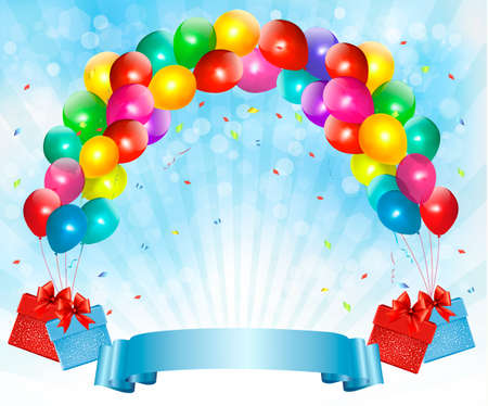 Holiday background with colorful balloons and gift boxes.