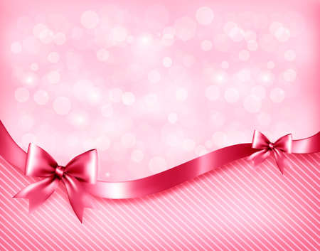 present presentation: Holiday pink background with gift glossy bows and ribbon.