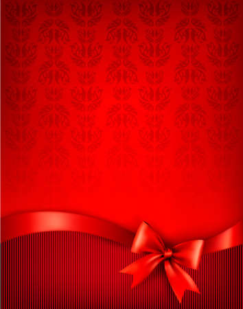 christmas backgrounds: Holiday background with gift glossy bow and ribbon. illustration.