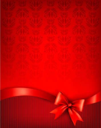 christmas template: Vacanza sfondo con fiocco regalo lucida e nastro. illustrazione.