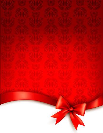 christmas gift tag: Holiday background with gift glossy bow and ribbon.
