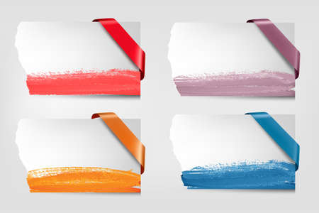 Collection of cardboard paper banners with color ribbons.  Stock Illustratie