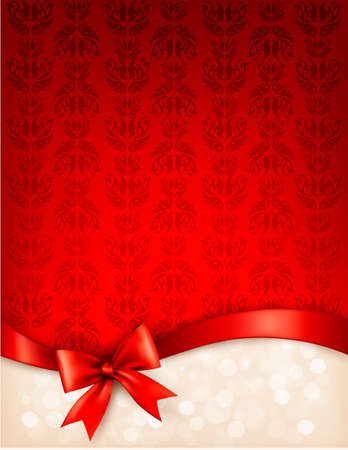holiday celebration: Holiday background with gift glossy bow and ribbon.