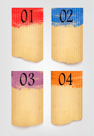 paperboard: Collection of retro cardboard paper banners with color ribbon tags.