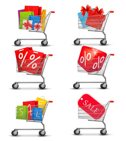 Group of shopping carts full of shopping bags and gift boxes. Concept of discount. Vector