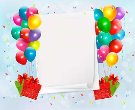 Holiday background with colorful balloons and gift boxes. Stock Vector - 20485687