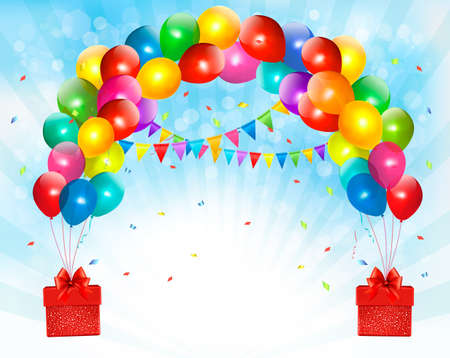 birthday party background: Holiday background with colorful balloons and gift boxes.