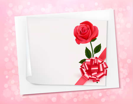 Holiday background with sheet of paper and pink bow. Vector