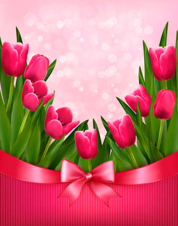 tulips: Holiday background with bouquet of pink flowers with bow and ribbon. Vector illustration. Illustration