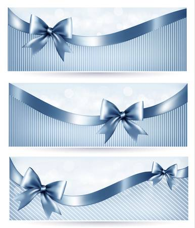 Set of blue holiday banners with gift glossy bow and ribbons. Vector