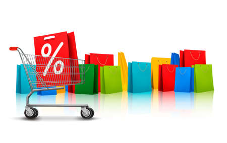 pushcart: Background with shopping color bags and shopping carts with sale. Concept of discount. Vector