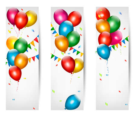 green balloons: Holiday banners with colorful balloons. Vector.