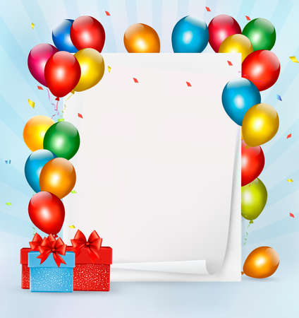 Holiday background with colorful balloons and gift boxes. Vector illustration. Vector