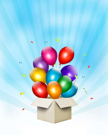 Holiday background with colorful balloons and open gift box. Vector Vector