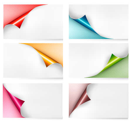 Collection of colorful cardboard paper banners. Vector Illustration