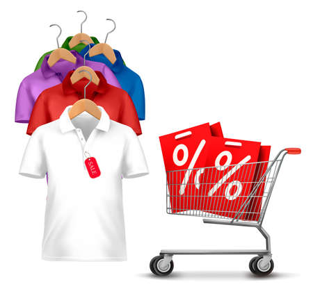 shirt hanger: Clothes hanger with shirts with price tag. Concept of discount shopping. Vector.