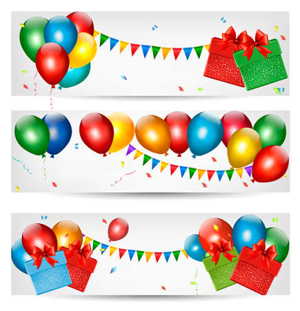 balloons party: Holiday banners with colorful balloons. Vector.