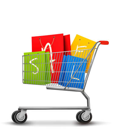 car retailer: Shopping bags with sale in shopping cart. Concept of discount. Vector illustration.