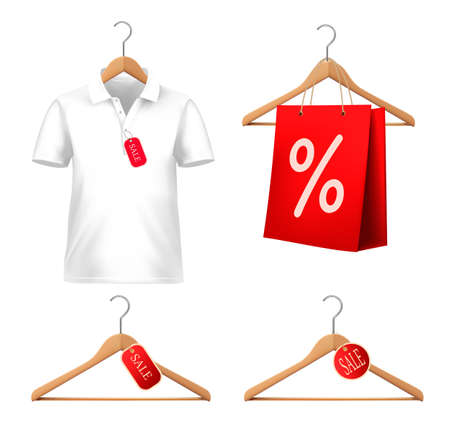 shirt hanger: Clothes sale set with hangers and price tags. Concept of discount shopping Vector illustration. Illustration