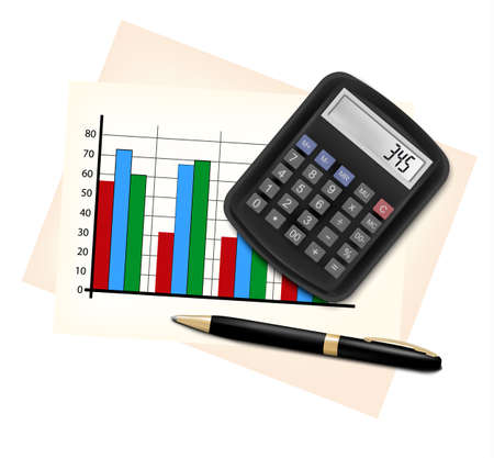 calculation: Business concept with finance graphs, electronic calculator and black pen.