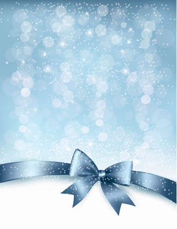 blue bow: Christmas Holiday background with gift glossy bow and ribbon.