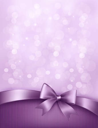 birthday invitation: Elegant holiday background with gift bow and ribbon.