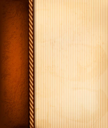 Vintage background with old paper and brown leather.