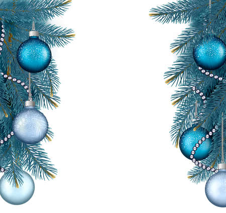 desember: Christmas background with balls and branches.  Illustration