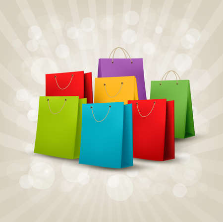 white paper bag: Background with colorful shopping bags. Discount concept.