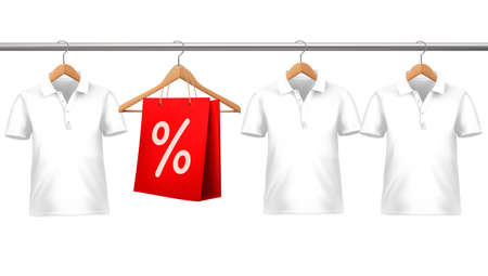 Shirts with price tags hanging on hangers. Concept of discount shopping.  Vector