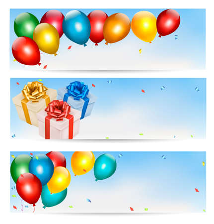 Holiday banners with colorful balloons and gift boxes. Vector. Stock Vector - 23072441