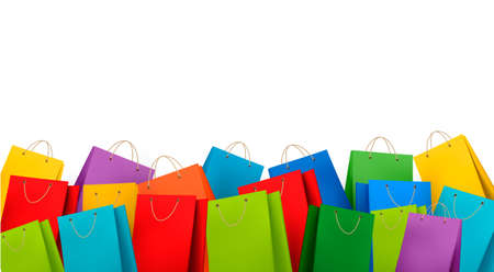shopping bags: Background with colorful shopping bags. Discount concept. Vector illustration.