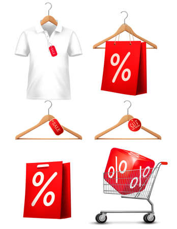 Clothes hanger with shirts with price tag. Concept of discount shopping. Vector. Vector