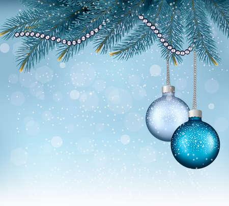 Fond de Noël avec des boules et des branches. Vector illustration Banque d'images - 23076255
