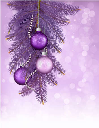 Christmas background with balls and branches. Vector illustration Vector