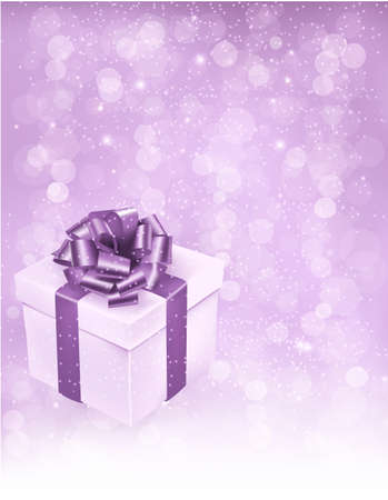 Holiday background with gift box with bow and ribbon. Vector illustration Vector