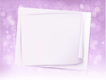 holiday light: Holiday light background with Christmas sheet of paper. Vector illustration