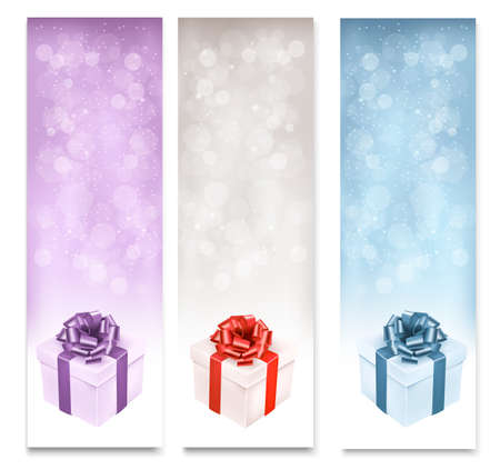 Holiday banners with colorful gift boxes. Vector. Stock Vector - 23076266