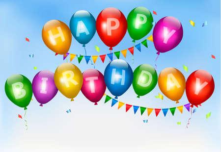 Happy birthday balloons. Holiday background. Vector. Vector