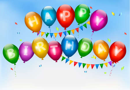happy birthday balloons: Happy birthday balloons. Holiday background. Vector.