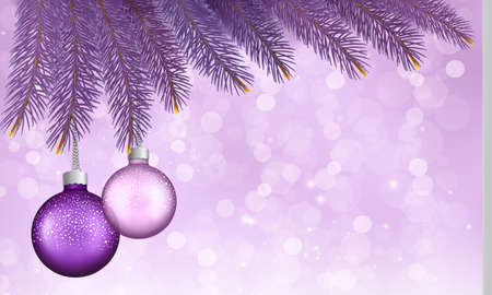 desember: Christmas background with balls and branches. Vector illustration.