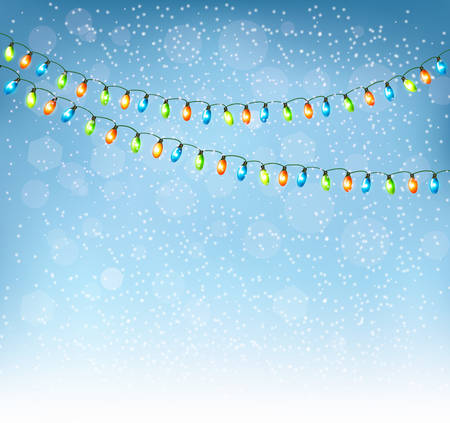 harland: Christmas background with colorful garlands. Vector.