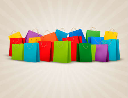 カラフルなショッピング バッグの背景。コンセプトを割引します。ベクトルの図。